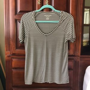 Army Green Soft And Sexy AEO Striped T-Shirt